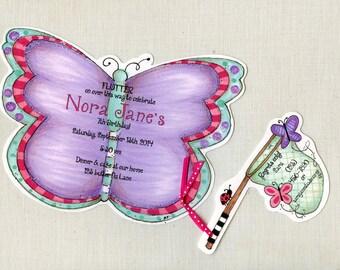 Personalized - Purple - Handcut -  Invitations - Birthday Party Invitations - Butterfly Birthday - Butterfly Invite - Set of 14