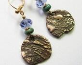 Artisan bohemian jewelry Gold leverback dangle earrings Ready to ship Bronze turquoise purple drop earrings One of a kind earrings