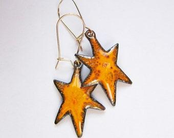 Enamel star earrings Enamel bohemian jewelry Yellow orange drop earrings Gold kidney wires