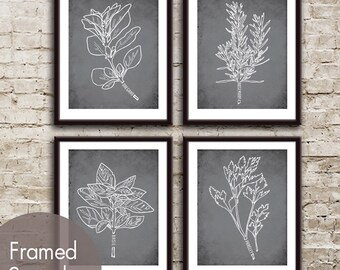 Herb Garden Series Set of 4 - Art Prints (Featured in Charcoal) Customizable Colors
