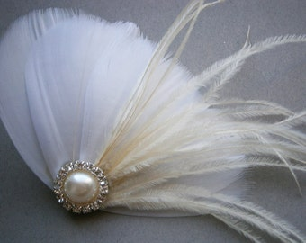 Ivory, feather, white, Weddings, hair, accessory, facinator, Bridal, Fascinators, Bride, veil - IVORY FAN