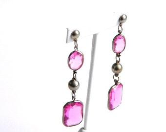 """Vintage Bezel Set Pink Crystal Earrings - Emerald Cut & Oval - Pierced Posts - Dangle - 3 1/2"""" Long - Statement"""