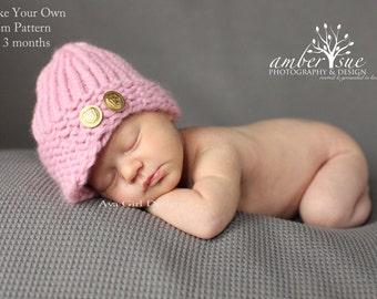 Newsgirl Newsboy hat loom knitting pattern 0 to 3  months