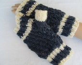 Navy blue with cream stripe hand knitted wool fingerless mitts