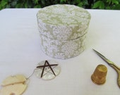 Sage green and cream damask patterned band box