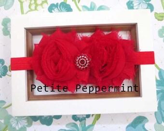 Red Shabby Flower Baby Headband, Baby Head Band, Baby Hair Bow