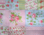 Roses and Gingham printed patchwork fabric FQ or more