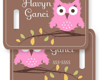 Hoot Owl Pink Personalized Bag or Luggage Tag, Custom Personalized Bag Tag, Monogrammed Bag Tags, Kids Personalized Bag Tags