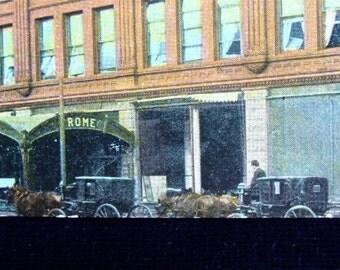 Vintage Horse Drawn Carriage POSTCARD 1909 HOTEL Rome in OMAHA Nebraska