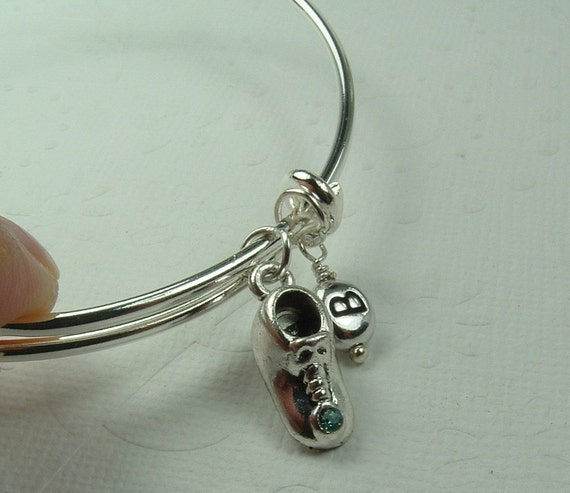 baby shoe charm bracelet new mom jewelry baby initial. Black Bedroom Furniture Sets. Home Design Ideas
