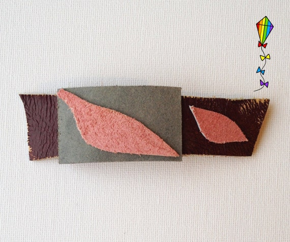 Slim Medium Hair Clip made from Reclaimed Leather - Leaves Design