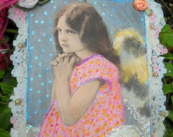 Angel Mine Tag Mixed Media Collage Original Real feathers lace vintage pearls