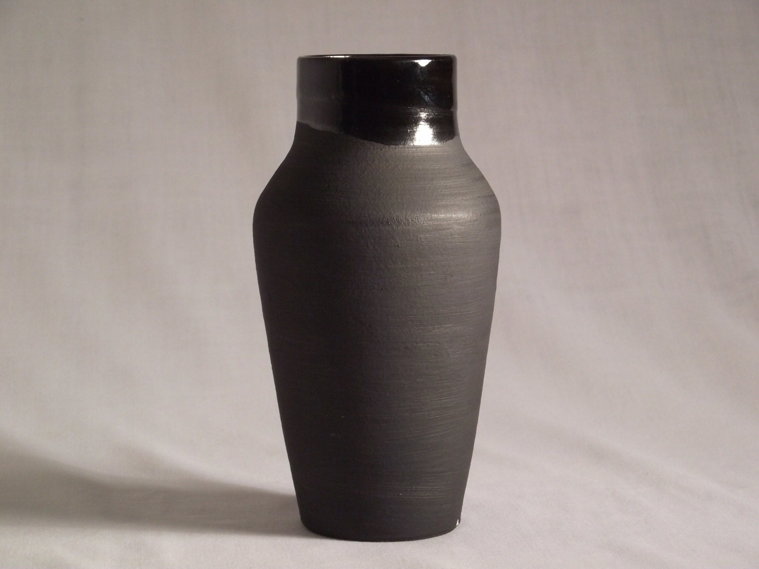 Ceramic Vase Black Matte And Glossy 6in Tall Home Decor