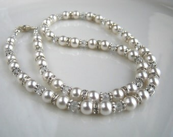 Crystal and Rhinestone White Pearl Necklace White Pearl Wedding Necklace Swarovski White Pearl Necklace (18 inches)