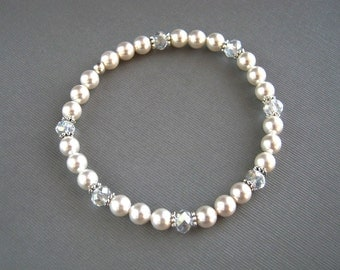 Crystal and Swarovski White Pearl Bracelet White Pearl Bridal Stretch Bracelet Pearl Wedding Bracelet
