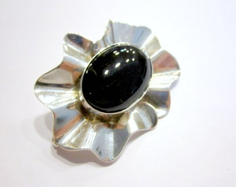 Vintage Taxco Brooch Signed Sterling Silver Black Onyx Gemstone Pin Designer Hand Crafted Sterling Jewelry Under 50 Gift Idea for Her