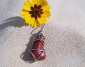 Red Jasper Pendant with Hematite and Quartz Inclusions, Healing Stone, Protection, Wire Wrapped, Copper, Gemstone Synergy