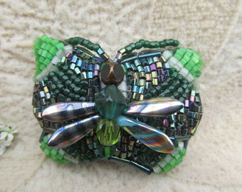 Forest Fey, Beaded Butterfly Barrette, Steampunk Victorian, Bead weaving, Green, Heavenly Hair Adornment