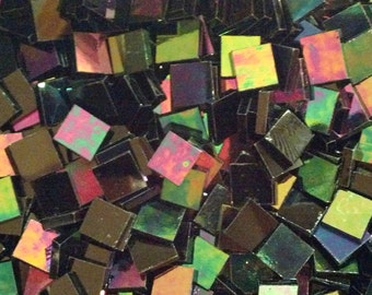 "100 1/2"" Black Pearl Iridized Stained Glass Mosaic Tiles"