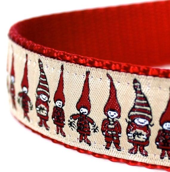 Christmas Elves Dog Collar, 1 inch width, Big Dog Collar, Holiday Pet Collar