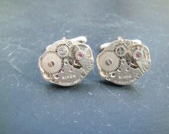 Oval Steampunk Cufflinks lovely set of watch movement cufflinks, ideal gift for a wedding, anniversary or birthday