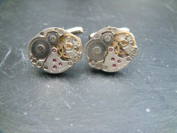 Oval Steampunk Watch Movement Cufflinks ideal gift for a birthday, wedding, anniversary or  christmas