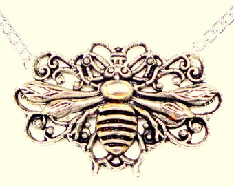 PS, Antiqued Filigree Honey Bee Necklace