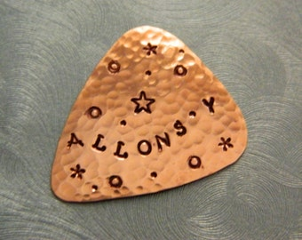 ALLONS-Y! Doctor WHO Guitar Pick - Copper Pick - Whovian - The Doctor - Usable Gift - Bbc America - 10th Doctor - Tennant, Time Lord, Tardis