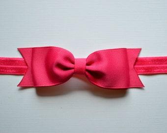 Shocking Pink Bow Headband. Dark Pink Baby Bow Headband. Shocking Pink Baby Headband. Baby Hair Accessories. Girls Hair Accessories. Pink
