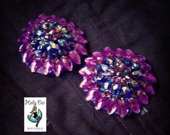 Purple Aurora Rhinestone BURLESQUE couture pasties