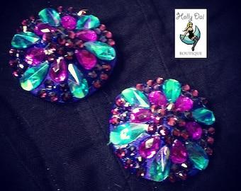 Purple Aurora Blue Rhinestone BURLESQUE couture pasties