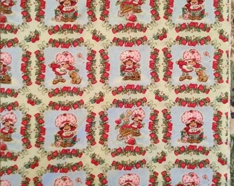 An Adorable Strawberry Strawberry In The Garden With Pupcake Blocks Cotton Fabric BTY Free US shipping