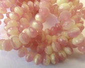 25 Czech Glass Fire Polished Roundel Beads in Rose Pink and Jonquil Opal  Size 5X7mm