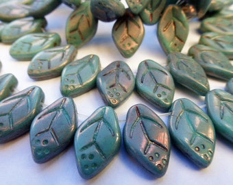 50 Czech Glass Leaf Beads in Opaque Dusty Blue Luster 9x10mm