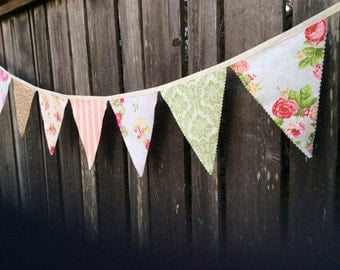 Vintage Peony Bunting Flags and Rose Patterns Romantic sweet Party Wedding Pennants