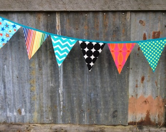 Bunting Flags, Fabric Party Banner, Circus Bunting, Birthday Banner, Party Decoration Freak Show Fabric pennants bright colors black & white