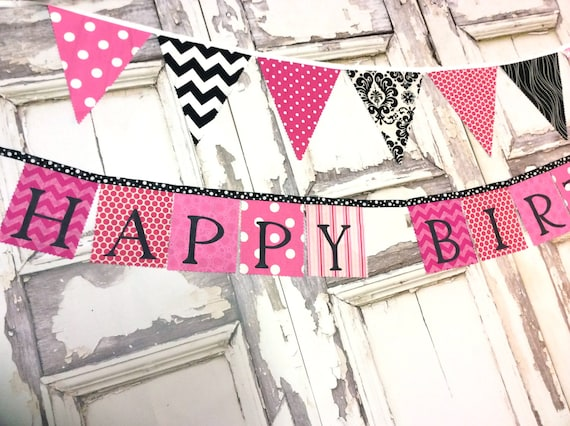 Happy Birthday Banner Hot Pink and Black  fabric party banner birthday decoration for girls