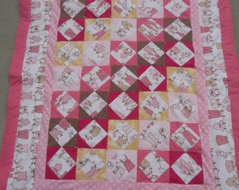 Quilt - Flannel Baby Quilts / Lap Blanket - Baby Clothesline Quilt - Hand Made  * birthday gifts for her