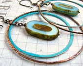 Moon . . Hand Forged Copper Turquoise Patina Hoops with Czech Glass Earrings