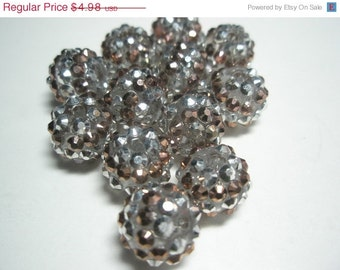 CLEARANCE SALE NEW 14 mm -Basketball Wives Inspired - 10 Rhinestone Resin Beads/Spacers - Silver/Bronze Stripe