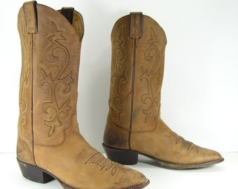 vintage cowboy boots mens 10 EE brown justin distressed leather western