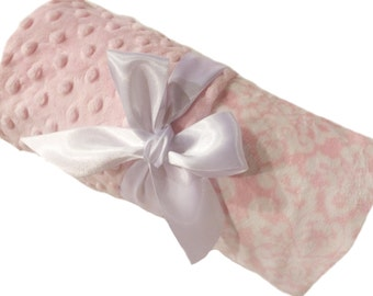 Pink and White Damask with Dot Minky Baby Blanket Personalization Included over 35 fonts to choose fro