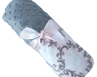 Pink and Gray Damask Minky Baby Blanket With Gray Dot Back Personalization Included Lovey Size