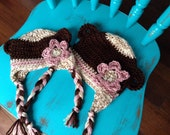 Made To Order Sweet Baby Girl Monkey Hat Sizes Newborn to 5T