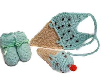 Mint Chocolate Chip Green Crochet Ice Cream Dessert Sweet Baby Booties, Baby Rattle, and Baby Bib Matching Set Fits Up to 6 Months Infant