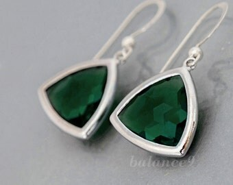 Emerald green earrings, triangle crystal earrings, silver framed drop dangle, sterling earwire, delicate everyday jewelry, gift, by balance9