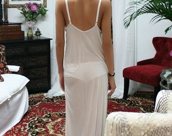 Ivory Silk Knit Slip Nightgown Bridal Cruise Lounge Sleepwear Lingerie