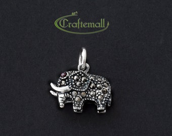 Clearance: 1 Sterling Silver Small Elephant Pendant - Marcasite Elephant Pendant with Garnet - MPA005