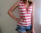 Vintage Striped Tank Red White Stripes Sailor Summer Tunic Retro 70s 80s Womens Shirt Top