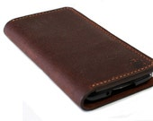 Hand Stitched iPhone 6 / 6S / 6 Plus / 6S plus Wallet in OILED BROWN Leather (Free Personalization)